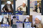 بالصور/ مشاركة مراجع الدين وشخصيات حوزوية ومسؤولين في الانتخابات الإيرانية