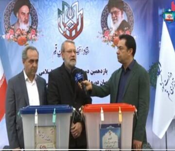 رئیس مجلس شورای اسلامی رای خود را در صندوق انداخت