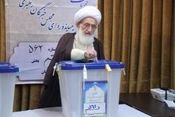 حضورآیت الله العظمی نوری همدانی در پای صندوق رأی/ همه برای تقویت کشور پای صندوق های رأی حاضر شوند