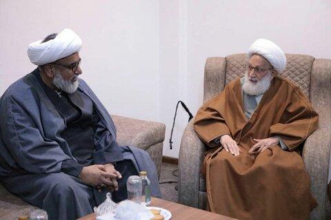 بالصور/ آية الله قاسم يلتقي بمجلس وحدة المسلمين في باكستان بمقرّ إقامته بمدينة قم المقدسة