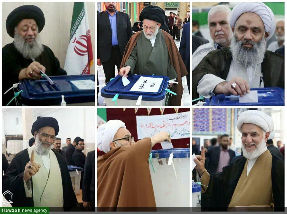 تصاویر/ حضور شخصیتهای حوزوی خوزستان پای صندوقهای رأی