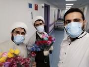 عیادت جمعی از طلاب و اساتید از بیماران بیمارستان فرقانی+ تصویر