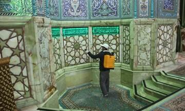 ضدعفونی کردن مکرر بخش های مختلف مسجدجمکران برای مقابله با کرونا