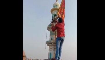 جوان هندو پرچم هندوهای افراطی را از مناره مسجد پایین کشید