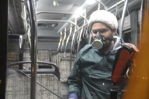 ضدعفونی ناوگان اتوبوسرانی اهواز توسط روحانیون جهادی
