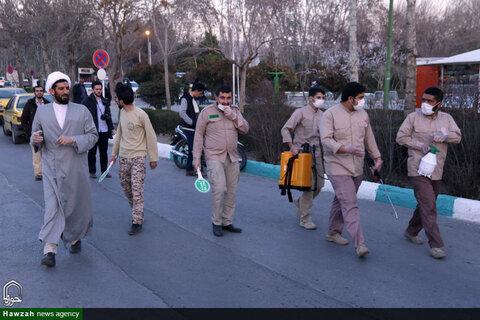 ضدعفونی شهر توسط طلاب جهادی حوزه علمیه اصفهان