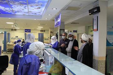 امام جمعه همدان به بیمارستان کرونایی ها رفت+ عکس