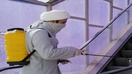 ضدعفونی معابر آبیک توسط روحانیون