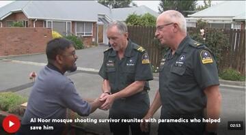 دیدار یک بازمانده حمله تروریستی نیوزیلند با امدادگرانی که نجاتش دادند