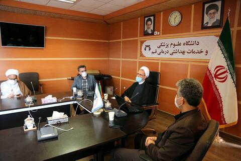 اجتماع آية الله الأعرافي برئيس جامعة العلوم الطبية لمدينة قم المقدسة