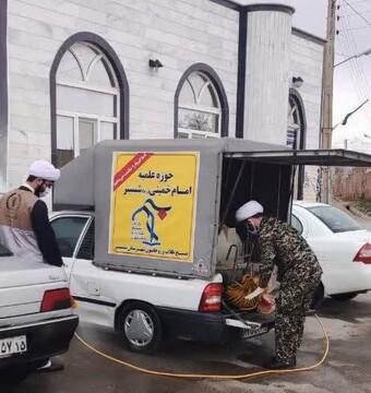 فیلم | ضدعفونی معابر و سطح شهر توسط روحانیون شبستر