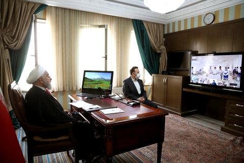 حسن روحانی - ارتباط ویدئو کنفرانس سمنان