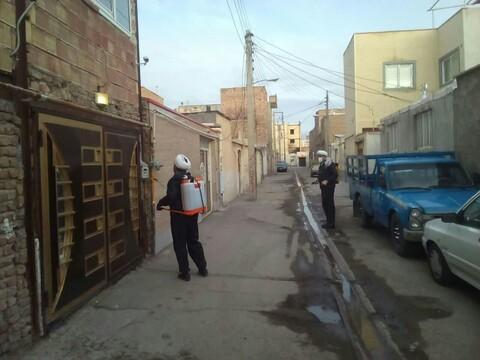 طلاب جهادی سنقر در حال ضدعفونی معابر شهری+ تصاویر