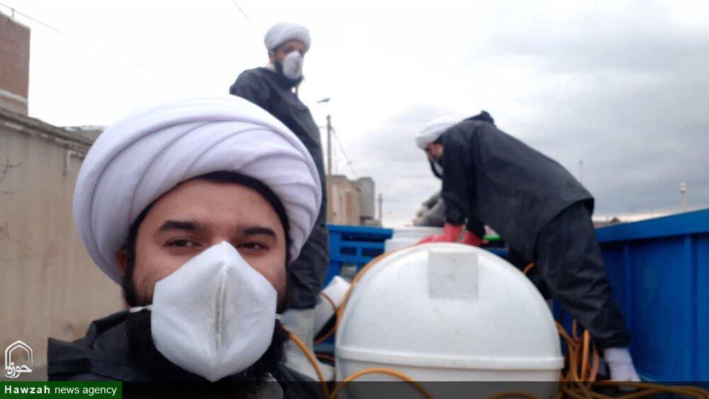 تصاویر / فعالیت جهادی طلاب مراغه ای در مبارزه با ویروس کرونا