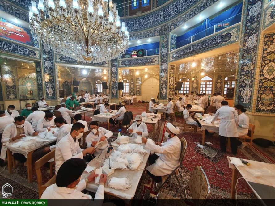 تصاویر/ کارگاه مردمی تولید ماسک در حسینیه بنی فاطمه اصفهان