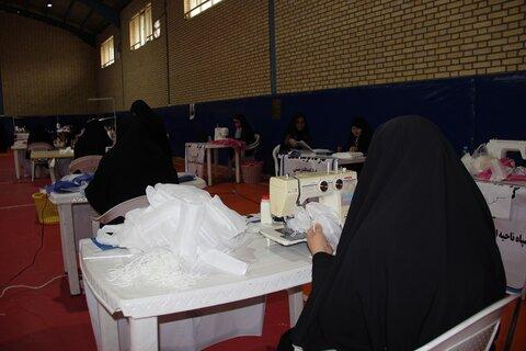 تصاویر/ کارگاه تولید ماسک قرارگاه پدافند زیستی سپاه قزوین