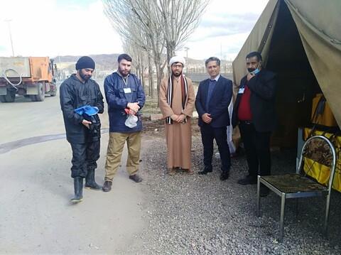ضدعفونی معابر عمومی بستان آباد توسط طلاب