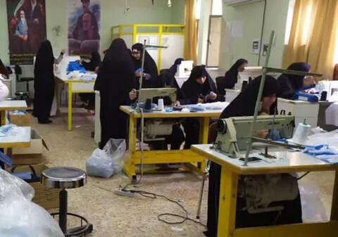 تولید روزانه ماسک و دستکش توسط طلاب مدرسه علمیه حضرت زینب شهرستان ایذه