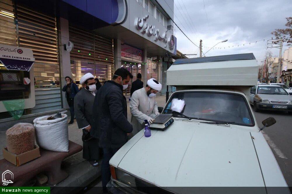 تصاویر/ ضدعفونی اماکن عمومی اهر توسط طلاب مدرسه علمیه امام صادق(ع)