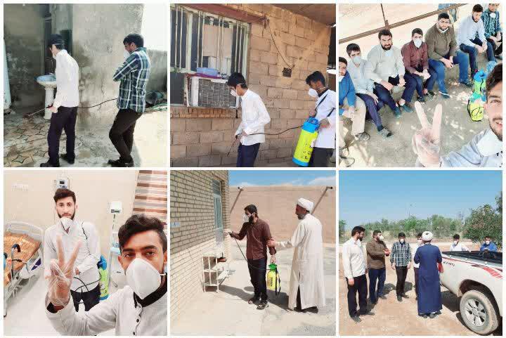ضدعفونی مناطق محروم شوشتر توسط طلاب جهادی