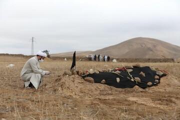 تصاویر / طلاب جهادی مدرسه علمیه امام صادق(ع ) اهر در حال کفن و دفن اموات کرونایی