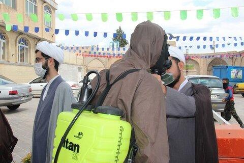 تصاویر/ طلاب جهادی قزوین در رزمایش مدافعان سلامت شرکت کردند