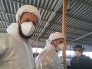 بالصور/ خدمات طلاب العلوم الدينية المتطوعين بحوزة تبريز العلمية في مكافحة فايروس كورونا