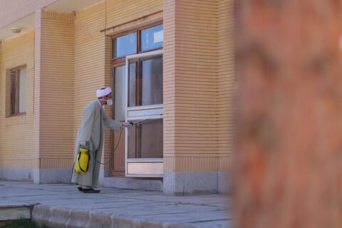 ضد عفونی توانبخشی حضرت علی اکبر(ع) توسط گروه طلاب و بسیجیان بیرجندی