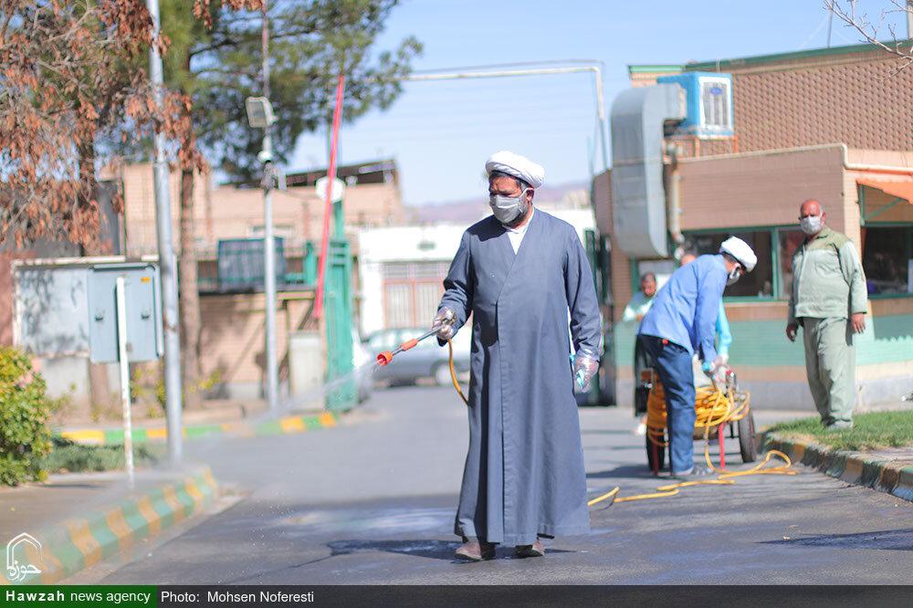 تصاویر/ ضدعفونی توانبخشی حضرت علی اکبر(ع) توسط طلاب و بسیجیان بیرجند