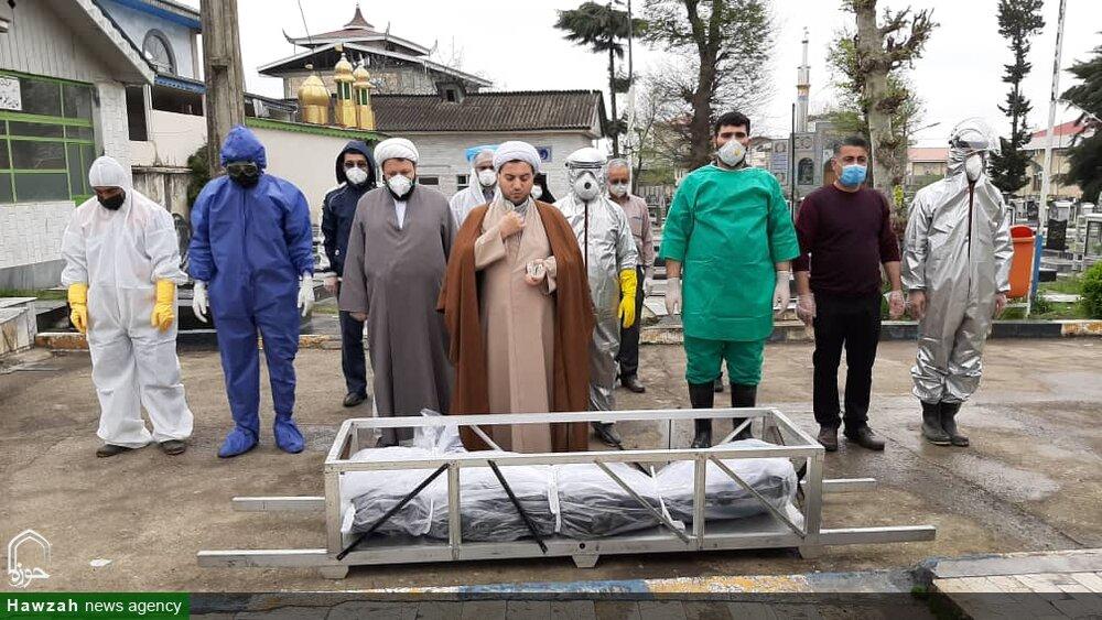 تصاویر شما/ تغسیل و تدفین اموات کرونایی توسط طلاب جهادی در شهرستان املش