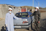 فیلم | ضدعفونی و توزیع بستههای بهداشتی توسط طلاب حوزه علمیه بیجار