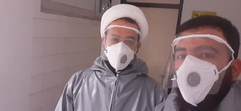تصاویر شما/  طلاب مدرسه علمیه فیضیه بابل پای کار مبارزه با ویروس کرونا