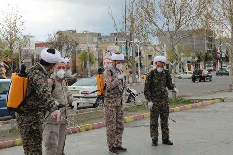 تصاویر/ حضور گروه جهادی بسیج طلاب و روحانیون سپاه بیت المقدس کردستان در مبارزه با کرونا