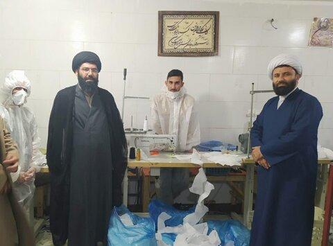 تصاویر/ بازدید مدیر حوزه  علمیه استان کردستان از کارگاه تولید ماسک مدرسه علمیه امام صادق (ع) قروه