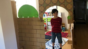 Boy, 8, builds mosque out of cardboard