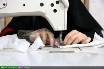 تولید ۲۰۰ هزار گان و ماسک توسط گروه های جهادی حوزه خواهران بوشهر