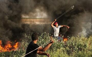 رویارویی جوان فلسطینی با نظامیان اسرائیلی
