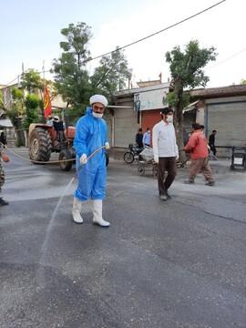 ضدعفونی و گند زدایی معابر عمومی شهرستان دلفان توسط جهادگران فاطمیون