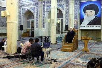 بالصور/ مراسيم الاحتفاء بمقام آية الله العظمى البروجردي في العالم الافتراضي بصورة مباشرة