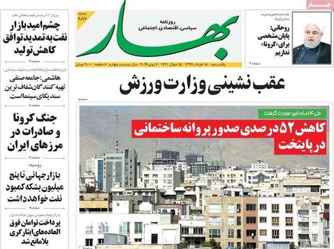 صفحه اول روزنامههای ۱۸ خرداد ۹۹