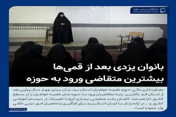 عکس نوشت| بانوان یزدی بعد از قمیها بیشتر متقاضی تحصیل در حوزه