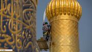 تصاویر/ غبارروبی گنبد و گلدسته های حرم مطهر امام حسین (علیه السلام)