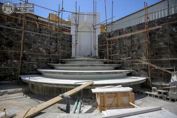 جهود متواصلة لإنجاز مشروع نافورة صحن الرسول (ص) قرب الحرم العلوي + صور