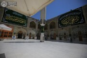 توشيح أرجاء المرقد العلوي المطهر باللافتات ومظاهر الزينة تيمنا ًبولادة الإمام الرضا (ع) + صور