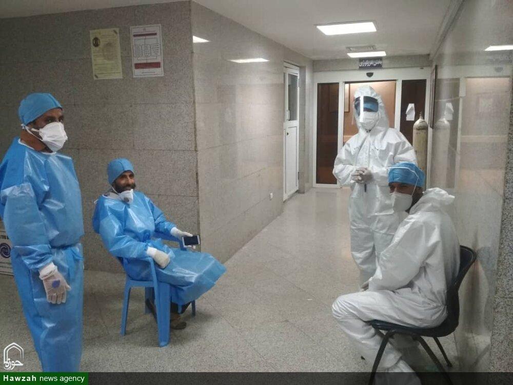 تصاویر شما/ فعالیت طلاب جهادگر در بخش کرونای بیمارستان شهید محمدی بندرعباس