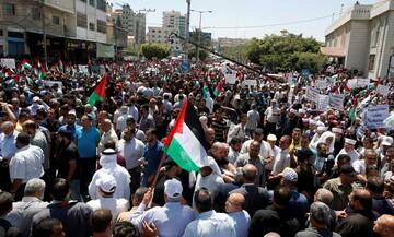 تصاویر/ تظاهرات گسترده مردم فلسطین در مخالفت با الحاق کرانه باختری