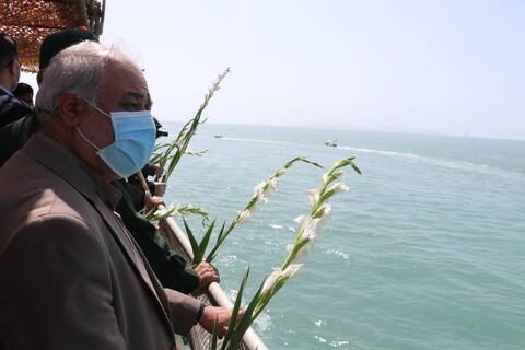 محل سقوط هواپیمای مسافربری ایرباس در خلیج فارس گلباران شد