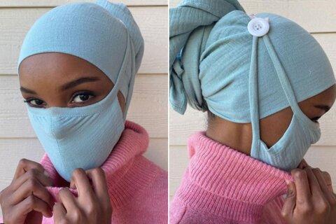طراحی ماسکهای مخصوص روسری توسط بانوی محجبه