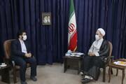 تصاویر/ دیدار رئیس شورای عالی استانها با آیت الله اعرافی