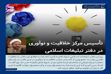 عکس نوشت   تأسیس مرکز خلاقیت و نوآوری در دفتر تبلیغات اسلامی